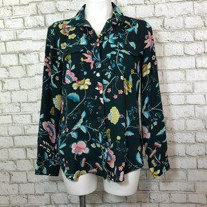 Ann Taylor Loft Green Floral Button Down Blouse M
